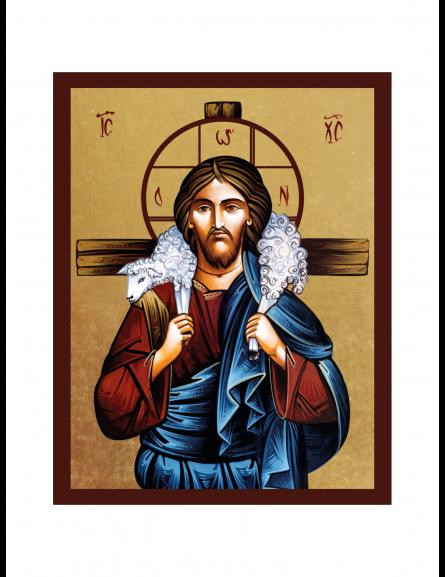 Ikona Złocona Chrystus Dobry Pasterz IK1D-06SZ