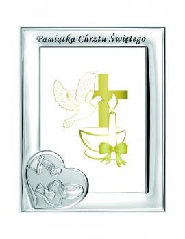 Ramka srebrna Pamiątka Chrztu Świętego 1183N/3BS