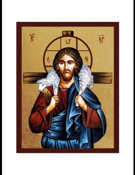 Ikona Złocona Chrystus Dobry Pasterz IK1C-06SZ